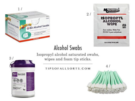 Alcohol Cleaning Wipes -- 1 / BD Regular Alcohol Swabs, 70% 2 / MG Chemicals Alcohol Wipe, 99.9% 3 / Sani-Cloth Disinfectant Wipes, 55% 4 / Zetek Swab with Foam Tips