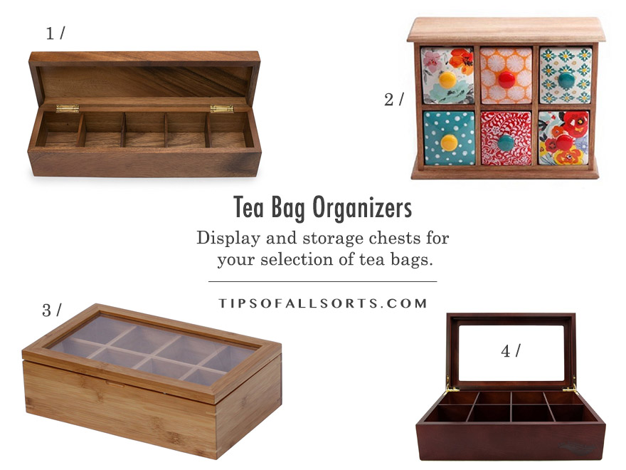 Tea Bag Organizer etc -- 1 / Ironwood Gourmet Acacia Wood Tea Chest, 5 compartments 2 / The Pioneer Woman Flea Market Spice/Tea Box, 6 drawers 3 / Oceanstar Bamboo Tea Box, 8 compartments 4 / The Bamboo Leaf Wooden Tea Storage Chest Box, 8 compartments